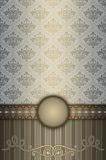 Decorative vintage background with old-fashioned patterns. Vintage background with decorative border and old-fashioned patterns. Vintage invitation card or book Stock Photos