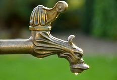 Decorative vintage brass tap water Stock Photos
