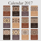 Decorative vintage calendar 2017. Oriental pattern. Vector mandala design can be used for poster, banner, card Stock Image