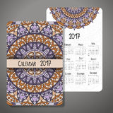 Decorative vintage calendar 2017. Oriental pattern. Vector mandala design can be used for poster, banner, card Royalty Free Stock Images