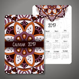 Decorative vintage calendar 2017. Oriental pattern. Vector mandala design can be used for poster, banner, card Royalty Free Stock Photo