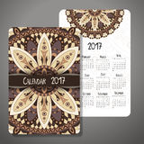 Decorative vintage calendar 2017. Oriental pattern. Vector mandala design can be used for poster, banner, card Stock Photos