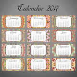 Decorative vintage calendar 2017. Oriental pattern. Vector mandala design can be used for poster, banner, card.  Stock Image