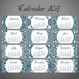 Decorative vintage calendar 2017. Oriental pattern. Vector mandala design can be used for poster, banner, card.  Stock Photos