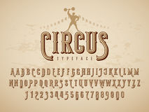 Decorative vintage circus typeface on grunge texture background. Eps8. RGB Global colors vector illustration