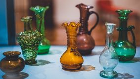 Vintage Colorful Glass Jar Collection stock photo