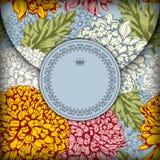 Decorative vintage envelope. Decorative envelope with floral ornaments and vintage label stock illustration