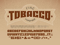 Decorative vintage font on the background of the texture of the tobacco leaf Stock Images