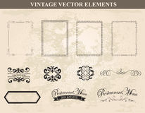 Decorative vintage frames and borders set vector Stock Image