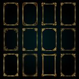 Golden decorative calligraphic frames in retro style - vector collection royalty free stock images