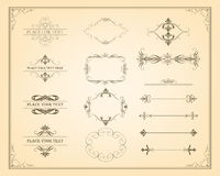 Decorative vintage frames and page decoration elements Stock Photos