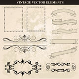 Decorative vintage frames ribbons and borders set vector Royalty Free Stock Photo