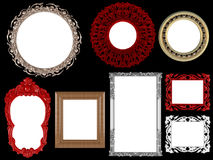 Decorative vintage and gold empty frames Royalty Free Stock Photos