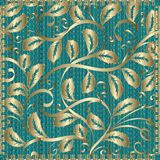 Decorative vintage gold floral pattern. Vector patterned texture. D ornamental turquoise background. 3d texture. Hand drawn leaves, swirls, stitching frame, line royalty free illustration