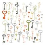 Decorative vintage keys, doodles Stock Photos