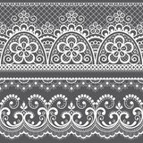 Decorative vintage lace seamless vector pattern, ornamental repetitive design with flowers and swirls in white on gray background vector illustration