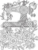 Decorative vintage sewing machine, with ornaments and flowers. Coloring for adults and meditation. Royalty Free Stock Photography