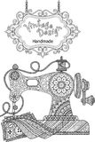 Decorative vintage sewing machine, with ornaments and flowers. Coloring for adults and meditation. Stock Photography