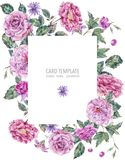 Decorative vintage watercolor pink roses vertical frame Stock Photo