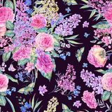 Watercolor seamless pattern with roses, lilacs Stock Photography