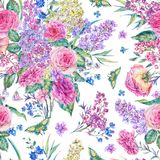 Watercolor seamless pattern with roses, lilacs Royalty Free Stock Image
