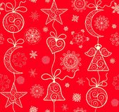 Decorative vintage xmas red wallpaper with hanging golden lacy baubles. Angel, crescent, heart and star royalty free illustration