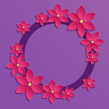 Decorative violet papercut border with pink paper flowers. 3D pa Stock Images