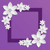 Decorative violet papercut border with white paper flowers. 3D paper composition on lilac background. Vector EPS 10 royalty free illustration