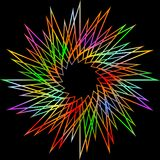 Decorative  vivid rainbow star shape with sharp rays on black background, high contrasting line decoration Royalty Free Stock Photos