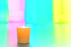 Decorative Votive Candle over Soft Pastel Colors Stock Photography