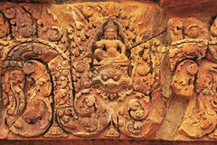 Decorative wall carvings, Banteay Srey temple, Angkor area, Siem Reap, Cambodia Royalty Free Stock Photos