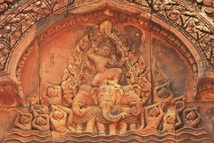 Decorative wall carvings, Banteay Srey temple, Angkor area, Siem Reap, Cambodia Royalty Free Stock Image