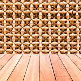 Decorative Wall Of Pottery Pots With Plank Wood Floor Royalty Free Stock Photos