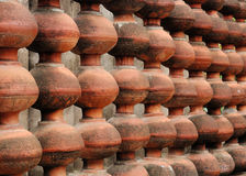 Decorative wall of pots pottery abstract royalty free stock photography