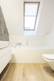 Decorative wall in minimalist bathroom. Decorative wall tiles in minimalist white bathroom in the attic Stock Image