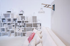 Decorative wall in white interior Royalty Free Stock Photos