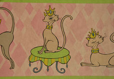 Decorative wallpaper with cat. S and green and pink wall with dots vector illustration