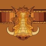 Decorative warthog head Stock Photo