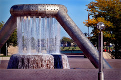 Decorative water fountain. A decorative water fountain at Hart Plaza Park, downtown Detroit, Michigan stock image