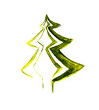 Decorative watercolor firtree. Watercolor image of decorative stylized firtree on white background Royalty Free Stock Photography