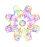 Decorative watercolor round pattern in rainbow colors. Royalty Free Stock Photography