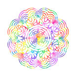 Decorative watercolor round pattern in rainbow colors. Ornamental retro Mandala. Watercolor painting on paper Royalty Free Stock Image