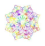 Decorative watercolor round pattern in rainbow colors. Ornamental retro Mandala. Watercolor painting on paper Stock Image