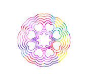 Decorative watercolor round pattern in rainbow colors. Ornamental retro Mandala. Watercolor painting on paper Stock Photos