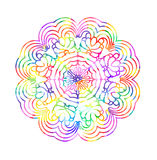 Decorative watercolor round pattern in rainbow colors. Royalty Free Stock Image
