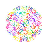 Decorative watercolor round pattern in rainbow colors. Ornamental retro Mandala. Watercolor painting on paper Royalty Free Stock Photos