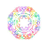 Decorative watercolor round pattern in rainbow colors. Ornamental retro Mandala. Watercolor painting on paper Stock Illustration