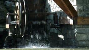 Decorative watermill wheel stock video