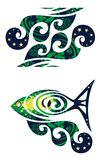 Decorative wave and fish with a wave Stock Photo