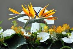 Decorative wedding flowers. Decorative wedding flower arrangement with studio background stock photo